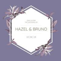 Marco de boda con vector de diseño de hojas púrpura