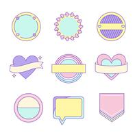 Ensemble de vecteurs de badge mignon et girly