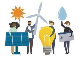 Mensen die de pictogrammenillustratie van het duurzame energieconcept houden