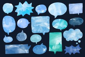 Set of watercolor speech bubbles vector