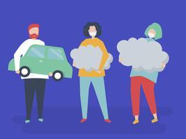 Karakter van mensen die de illustratie van luchtvervuilingssymbolen houden