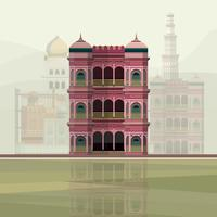 Illustration of colorful residence building in India