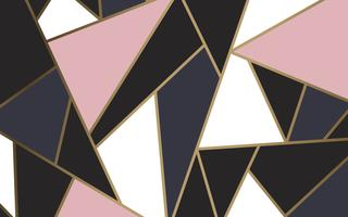 Modern mosaic wallpaper in rose gold, gold, and black