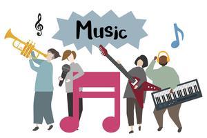 Musiker auf der Bühne, die Musikillustration spielt