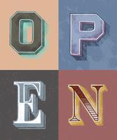 Estilo de tipografia vintage palavra aberta