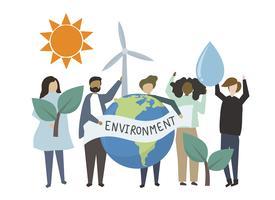 Pessoas, segurando, ambiental, amigável, conceito, ilustração