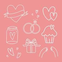 Conjunto de vetores de símbolos de amor