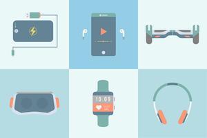 Set med olika moderna gadgets och enheter