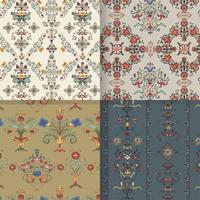 Vintage blomstrande mönster bakgrundsuppsättning