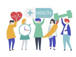 Caractes de pessoas segurando a ilustração de ícones de saúde
