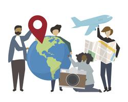 People holding international travel concept icons illustration
