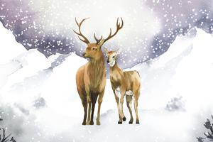 Hand-drawn pair of deer in a winter landscape watercolor style vector