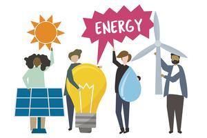 La gente che tiene l'illustrazione delle icone di concetto di energia sostenibile