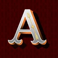 Hoofdletter Een vintage typografische stijl
