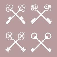 Set of vintage crossed key vectors