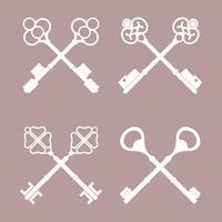 Conjunto de vetores chave cruzados vintage