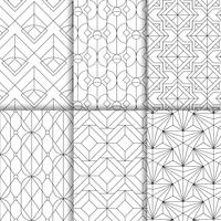 Black geometric seamless patterns set on white background