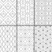 Los modelos inconsútiles geométricos negros fijaron en el fondo blanco