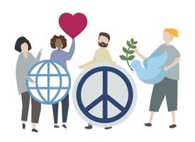 Gente, tenencia, pacífico, icono, ilustración