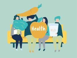 Karakters van mensen die de illustratie van gezondheidspictogrammen houden
