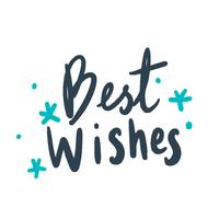 Best wishes typography vector in blue