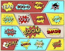 Illustration set of comic word graphics