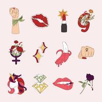 Sammlung von Mädchenpowervektoren