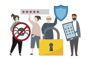Ilustración de malware y sistema de seguridad de red.