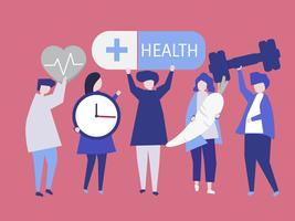 Charactes della gente che tiene l'illustrazione delle icone di salute
