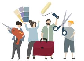 People holding interior design equipment illustration