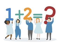 Crianças aprendendo números e matemática