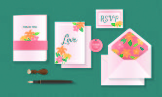 Different style of invitation cards set illustration