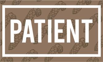 Illustratie van geduldig woord op bruine achtergrond