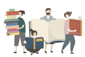 People with stacks of books illustration