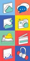 Ilustração, de, recreação, ícones