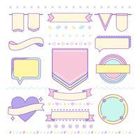 Varios vectores de elementos de diseño lindo y femenino