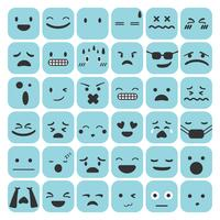 Émoticônes Emoji définie illustration vectorielle de visage expression sentiments collection