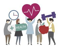 La gente che tiene l'illustrazione delle icone di concetto di salute e di forma fisica