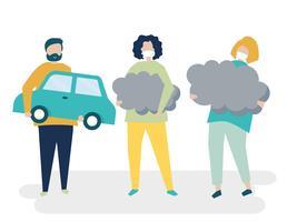 Carattere della gente che tiene l'illustrazione di simboli di inquinamento atmosferico