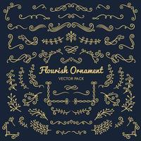 Flourish ornaments design caligráfico elementos vector conjunto ilustração