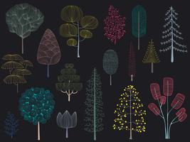 Illustration of pine trees collection