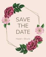 Save the date with floral frame vector
