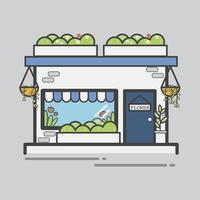 Illustration av en blomsterbutik