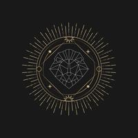 Geometric lion astrological tarot card