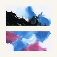 Colorful ink watercolor textured background set
