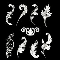 White Baroque elements vector set