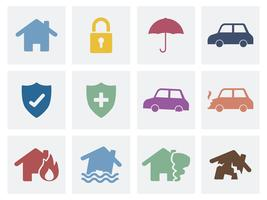 Ensemble d'icônes d'icônes de sécurité à la maison