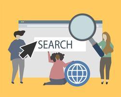 Sitio web y ilustración de presencia en línea ilustración