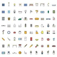 Illustration set of household items icon