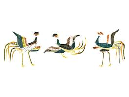 Vintage Illustration of Japanese cranes compilation